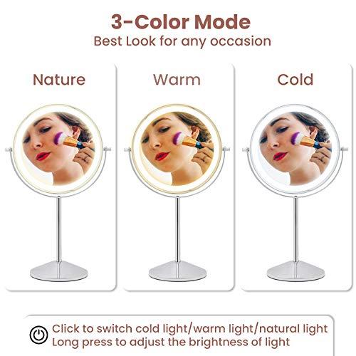 Kosmetikspiegel beleuchteter Schminkspiegel mit Vergrößerung Makeup Spiegel Touchscreen Helligkeit Drehbar -