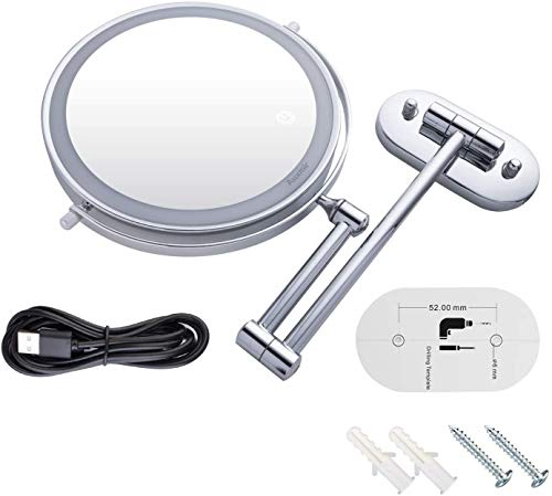 Kosmetikspiegel LED Beleuchtet Vergrößerung Dimmbarer Schminkspiegel mit Touchschalter Rasierspiegel für Badezimmer -