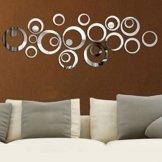 Kristall 3D Spiegel Wandaufkleber Acryl runde Kreise Wandaufkleber Schlafzimmer Wohnzimmer Wandbild