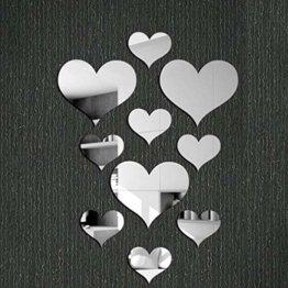 Kristall Liebes Herzen Spiegel Wandaufkleber 3D Wandtattoos Home Wohnzimmer Badezimmer Dekor