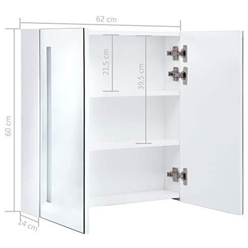 LED-Bad-Spiegelschrank mit Beleuchtung – modernes schönes Design 62 x 14 x 60 cm -
