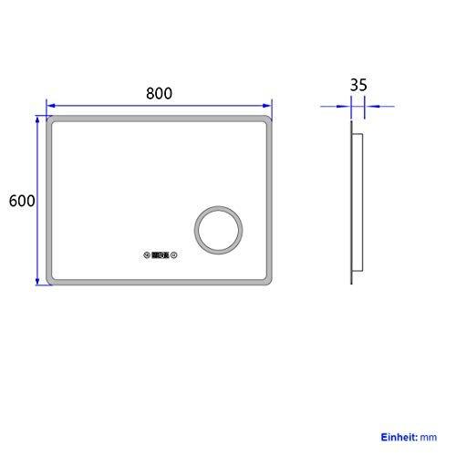 LED Badspiegel Beleuchtung Badezimmerspiegel Spiegel mit Touch Vergrößerung Lupe Schminkspiegel Beschlagfrei Uhr -