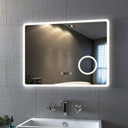 LED Badspiegel Beleuchtung Badezimmerspiegel Spiegel mit Touch Vergrößerung Lupe Schminkspiegel Beschlagfrei Uhr