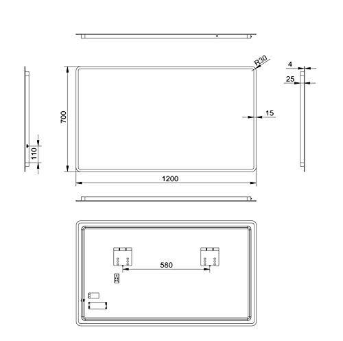 LED Badspiegel Talos Moon 120×70 cm – Modernes Design und hochwertige Beschichtung -