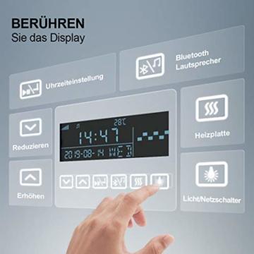 LED Badspiegel Wandspiegel Beleuchtung Badezimmerspiegel Schminkspiegel Vergrößerung mit Bluetooth 4.1 Lautsprecher Touch-Schalter Digitaluhr