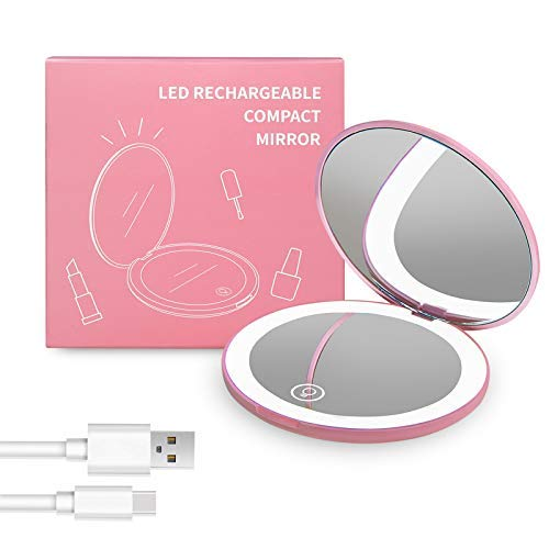 LED Kompaktspiegel Taschenspiegel Handspiegel mit 1X / 10X Vergrößerung Kosmetikspiegel Licht Rosa