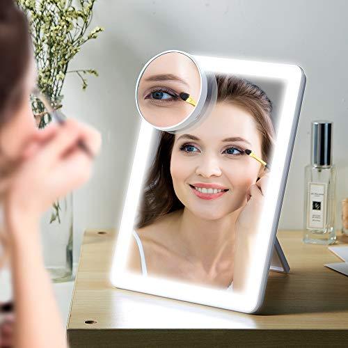 LED Kosmetikspiegel Lupenfunktion Vergrößerungsspiegel Make-Up Spiegel Dreifarbiges Licht Dimmen -