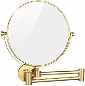 Luxus Gold Schminkspiegel Badezimmerspiegel runder edler Designspiegel Vergrößerungs-Kosmetikspiegel