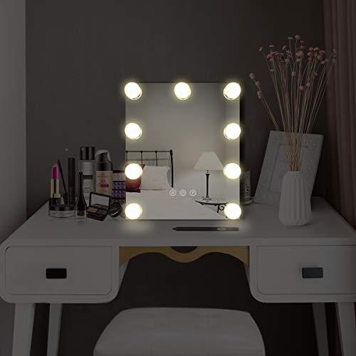 Tisch Schminkspiegel mit Licht USB Hollywood Spiegel Vergroßerspiegel 25 * 30CM Beleuchtung Spiegel Weiß