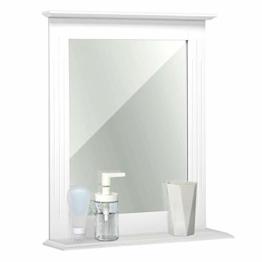 Badezimmerspiegel Wandspiegel mit Ablage und Spiegel 46x12x55cm klein für Badezimmer Flur Eingangsbereich Weiß