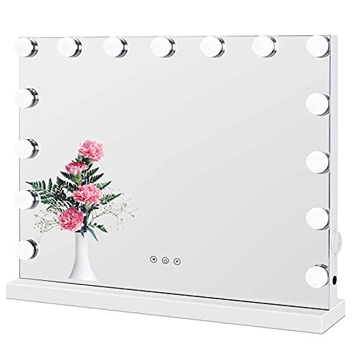 Hollywood Spiegel mit Beleuchtung Dimmbare Glühbirnen Licht Schminkspiegel Hollywood-Stil Weiß 58cm x 46cm