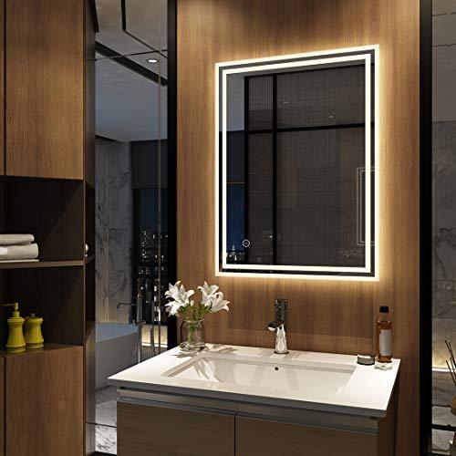 Badezimmerspiegel LED Badspiegel Touch Schalter Beschlagfrei Lichtspiegel Dimmbar