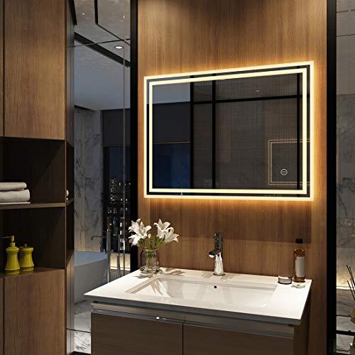 Wandspiegel Badezimmerspiegel LED Badspiegel mit Beleuchtung 80x60cm Touch Schalter
