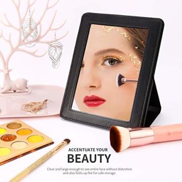 Reisespiegel Klappspiegel Make up Spiegel Taschenspiegel mit Ständer Tragbar und Schlank, ideal für Reisen -