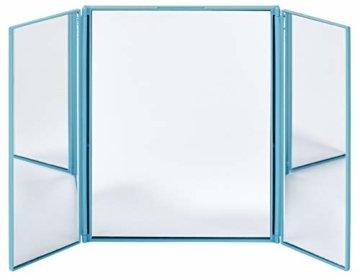 Reisespiegel mit Standfuß Beidseitig ausklappbarer Kosmetikspiegel für unterwegs Klappspiegel Tischspiegel