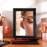 Reisespiegel Schminkspiegel Kosmetikspiegel Make up Spiegel Klappspiegel Tischspiegel mit Leder Hülle Schwarz