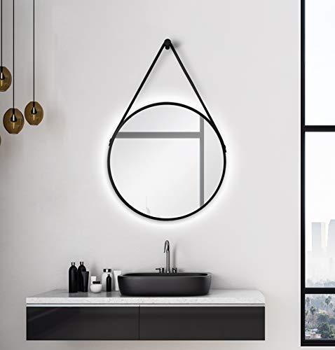 Rund mit LED Beleuchtung-Spiegel mit Aufhängegurt in Lederoptik Hochwertiger Aluminiumrahmen schwarz matt Ø 50 cm