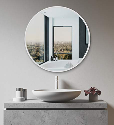 Runder Bad Spiegel LED beleuchtet 60cm Badezimmerspiegel Lichtspiegel Touch Sensor modernes Design