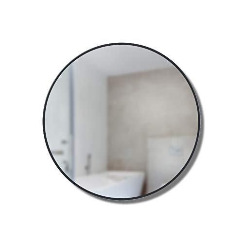 Runder Badezimmerspiegel mit Ablage Schwarz modern Stauraum für kleine Räume -