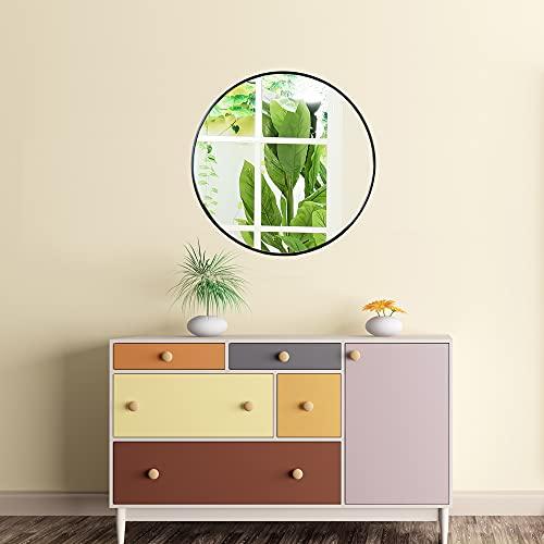 Runder Spiegel 60cm mit Schwarzem Metallrahmen Glas Wandspiegel für Wohn- oder Badezimmer -