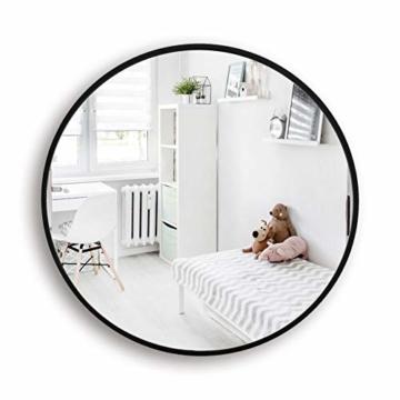 Runder Spiegel 60cm mit Schwarzem Metallrahmen Glas Wandspiegel für Wohn- oder Badezimmer