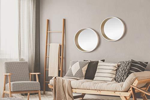 Runder Spiegel dekorativer Wandpiegel Skandinavisches Design 50cm Holzrahmen Eiche/Weiß -