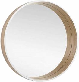 Runder Spiegel dekorativer Wandpiegel Skandinavisches Design 50cm Holzrahmen Eiche/Weiß