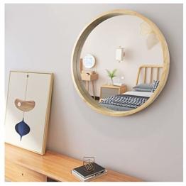 Runder Spiegel mit Rahmen aus Holz Groß Wandspiegel in Oak 50.8cm für Bad Schlaf-, Ankleide- oder Wohnzimmer