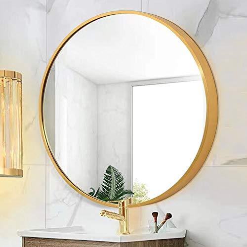 Runder Spiegel mit Rosegold Metallrahmen Wandspiegel 50cm für Badzimmer Ankleidezimmer oder Wohnzimmer Schminkspiegel -