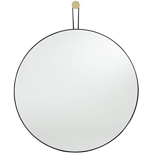 Runder Spiegel mit Schwarz Metallrahmen 50 cm Dekorativer Wandspiegel für Flur, Badezimmer, Wohnzimmer, Schlafzimmer -