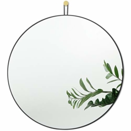 Runder Spiegel mit Schwarz Metallrahmen 50 cm Dekorativer Wandspiegel für Flur / Wohnzimmer / Schlafzimmer / Badezimmer