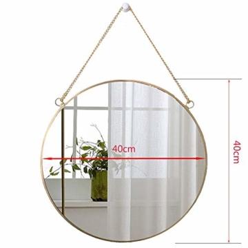 Runder Spiegel Wanddeko Wandspiegel Badspiegel Goldener Spiegel Flur Bad & Gäste Wc 40 x 40 cm Metallrahmen -