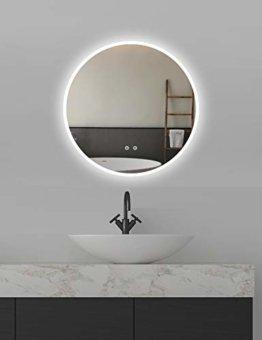 Runder Wandspiegel ø60cm mit Beleuchtung und Spiegelheizung LED Badspiegel mit Touch-Schalter,Lichtspiegel