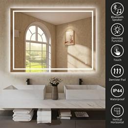 Badezimmerspiegel beleuchtet LED 800 x 600 mm dimmbar Demister Pad