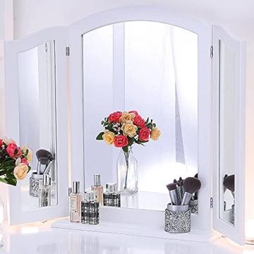Schminktisch Spiegel Klappbar Dreifach Spiegel Holz 84cm x 62cm Groß Kosmetikspiegel für Tisch oder Wand Weiß
