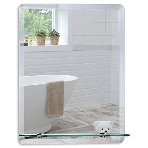 Schöner Badezimmerspiegel mit Ablage modern und stylish Badspiegel Wandspiegel abgeschrägte Kante Spiegel 50cm X 40cm