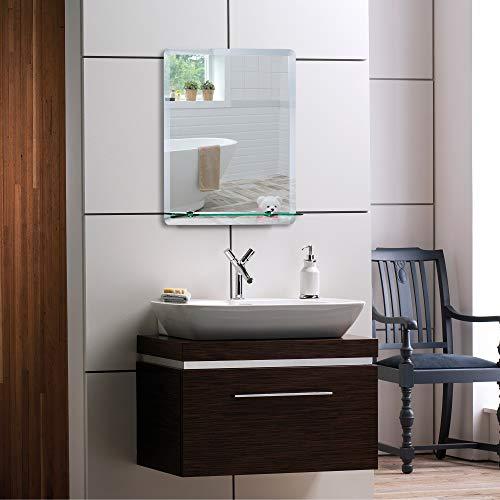 Schöner Spiegel mit Ablage modern – stylish Badspiegel Wandspiegel 50cmx40cm Glasablage -