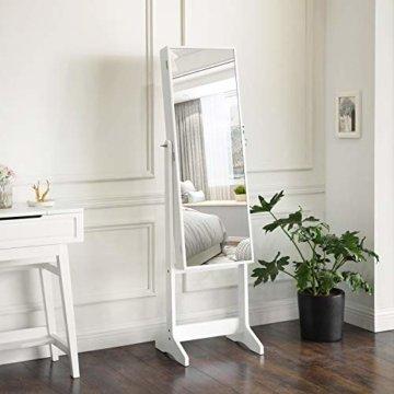 Schmuckschrank, Spiegelschrank Standspiegel großer Ganzkörperspiegel Stellspiegel Geschenk weiß