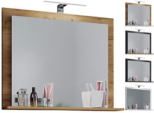 Spiegel Badspiegel Badezimmerspiegel Wandspiegel Ablage LED-Lichtleiste Holz Rustikal