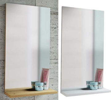 Spiegel Badspiegel Wandspiegel mit Ablage Badmöbel Sesal 60 x 35 x10 cm Weiß