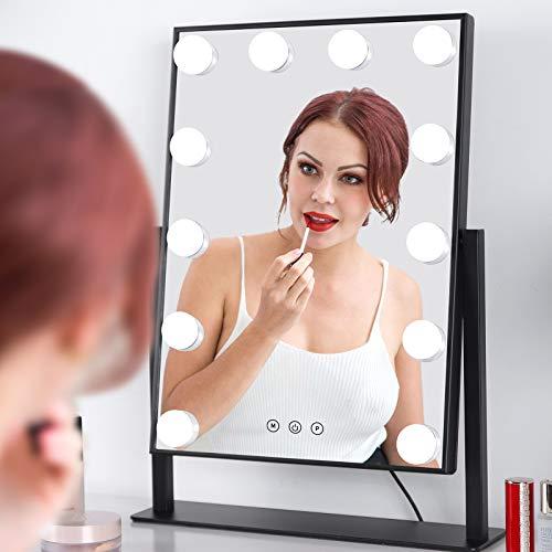 Spiegel mit Beleuchtung Drehbar Hollywood Spiegel mit LED Licht Schminkspiegel 35.5cm * 47.5cm -
