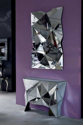 Spiegel Prisma grosser ausgefallener XXL Designspiegel moderner extravaganter Wandspiegel Wanddeko 140x105x12cm
