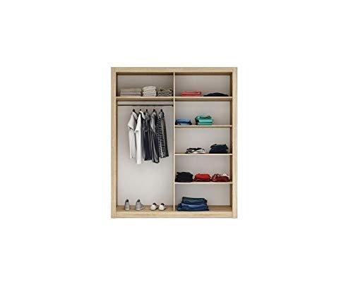Spiegel Schwebetürenschrank Kleiderschrank Garderobenschrank mit Spiegel Schiebetürenschrank Schwarz Matt -