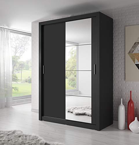 Spiegel Schwebetürenschrank Kleiderschrank Garderobenschrank mit Spiegel Schiebetürenschrank Schwarz Matt