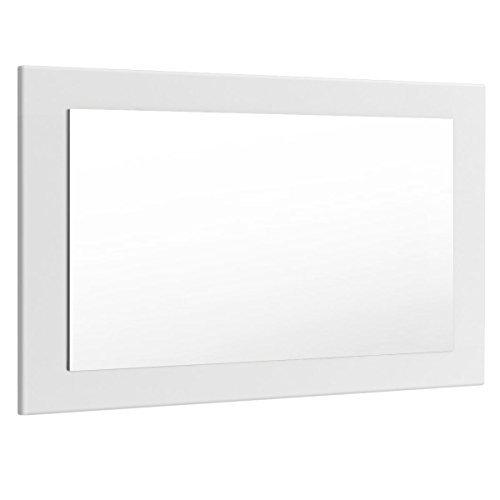 Spiegel Wandspiegel auf Holz Holzrahmen Eleganter Spiegel mit Rahmen 89cm in Weiß matt