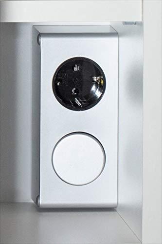Spiegelschrank 60x68x16cm mit LED Leuchte weiß matt Spiegel Badschrank Lichtleiste Regalfächer Steckdose -