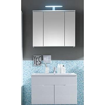 Spiegelschrank Bad mit LED-Beleuchtung in Weiß Hochglanz Badezimmerspiegel Schrank mit viel Stauraum