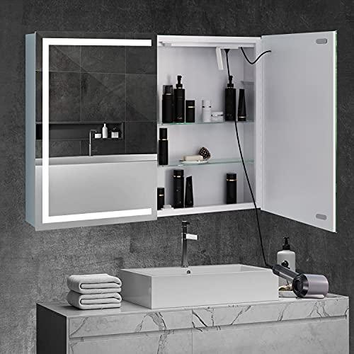Spiegelschrank Bad Spiegel mit dimmbare LED-Beleuchtung Badspiegel Beleuchtung Berührung Sensor Hängeschrank -