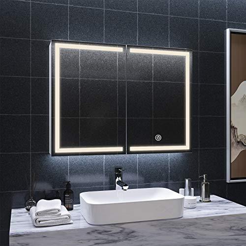 Spiegelschrank Bad Spiegel mit dimmbare LED-Beleuchtung Badspiegel Beleuchtung Berührung Sensor Hängeschrank