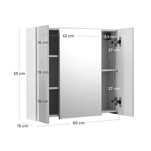 Spiegelschrank Badezimmerschrank Aufbewahrungsschrank Badezimmer 60 x 15 x 55 cm, Regal modern weiß -